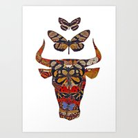 bull and butterfly series #2 Art Print