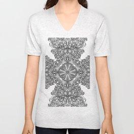 black, white and gray  Unisex V-Neck