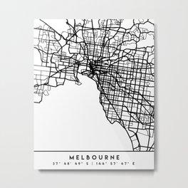 MELBOURNE AUSTRALIA BLACK CITY STREET MAP ART Metal Print