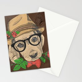 Cute Hipster Pup Stationery Cards