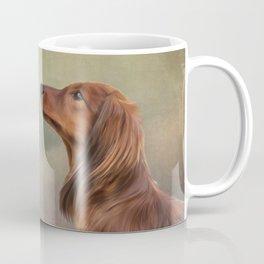 Dog breed long haired dachshund portrait oil painting Coffee Mug