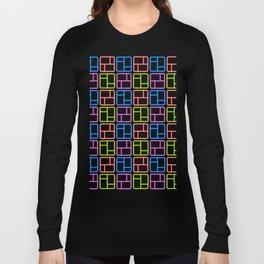 seamless cute vintage colors transparent rectangle pattern square pattern Long Sleeve T-shirt