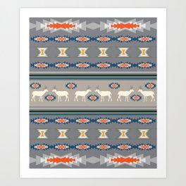 Decorative Christmas pattern with deer Art Print
