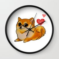 doge Wall Clocks featuring Valentines Doge by Keri Lynne