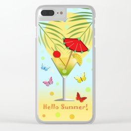 Hello Summer, vector illustration with text Clear iPhone Case