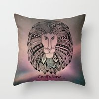 law Throw Pillows featuring Cecil's Law by MarjolynSpiritArt