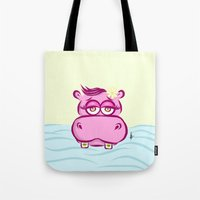hippo Tote Bags featuring Hippo by Azhar