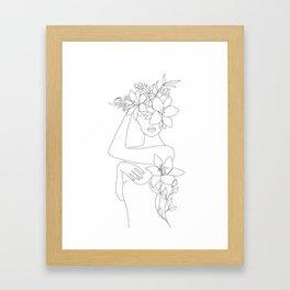 Minimal Line Art Woman with Flowers VI Framed Art Print