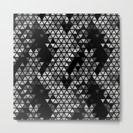 Geometric Fractal Triangles Black Noir Metal Print