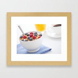Healthy breakfast with muesli, fresh fruit, orange juice and coffee Framed Art Print
