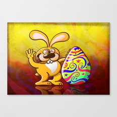 Easter Bunny Proud of his Big Decorated Egg Canvas Print