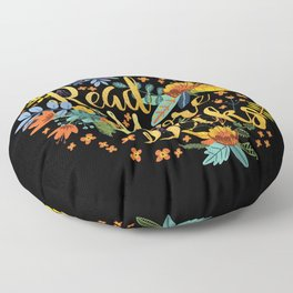 Read More Books - Black Floral Gold Floor Pillow