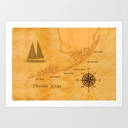 Vintage Nautical Florida Keys Map Art Print