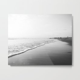 Black And White Beach Print-Ombre Shore Metal Print