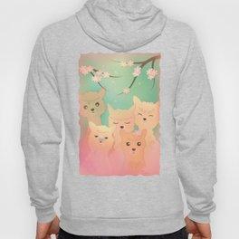 Alpaca Family II - Mint Green Spring Cherry Blossom Background Hoody