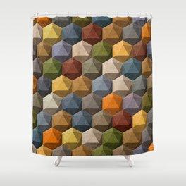 icosahedron multicolor Shower Curtain