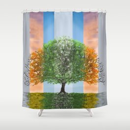 Digital painting of the seasons of the year in a tree Shower Curtain