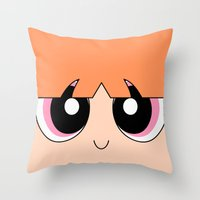 powerpuff girls Throw Pillows featuring Blossom -The Powerpuff Girls- by CartoonMeeting