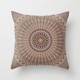 Cappuccino mandala Throw Pillow