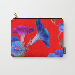 Red Color Blue Morning Glory Art Design Pattern Carry-All Pouch