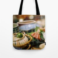 japanese Tote Bags featuring Japanese by Laura L.