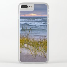 Lake Michigan Dune with Beach Grass at Sunset Clear iPhone Case