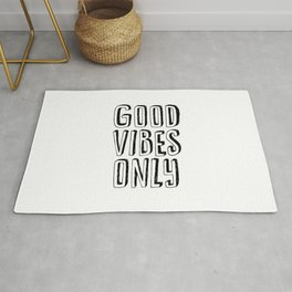 Good Vibes Only black-white contemporary minimalist typography poster home wall decor bedroom Rug
