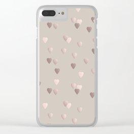 Elegant rose gold heart pattern Clear iPhone Case