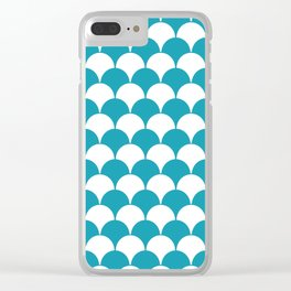 Fan Pattern 321 Turquoise Clear iPhone Case