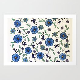Blue and purple floral design Art Print
