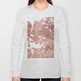 Stylish white rose gold modern marble Long Sleeve T-shirt