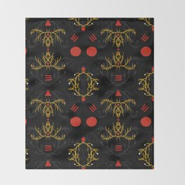gold and red pattern Throw Blanket