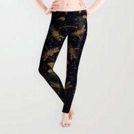 Golden dragonfly pattern - dark Leggings