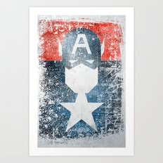 Yankee Captain grunge superhero Art Print
