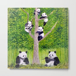Giant Panda Bears - Hey It's Time To Eat Metal Print