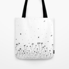 Daisy Flowers Black and White Tote Bag