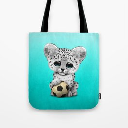 Snow leopard Cub With Football Soccer Ball Tote Bag