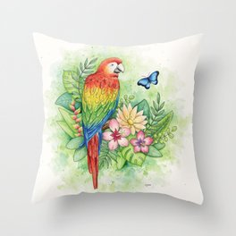 Scarlet Macaw - tropical rainforest illustration Throw Pillow