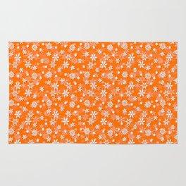 Festive Turmeric Orange and White Christmas Holiday Snowflakes Rug