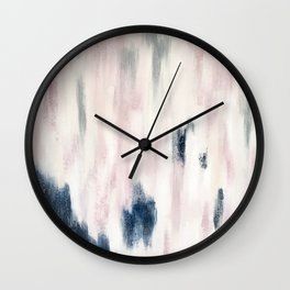 Blush Pink and Blue Pretty Abstract Wall Clock
