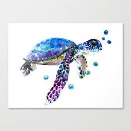 Sea Turtle, blue purple illustration children room cute turtle artwork Canvas Print