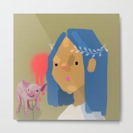 Girl with Pig Metal Print