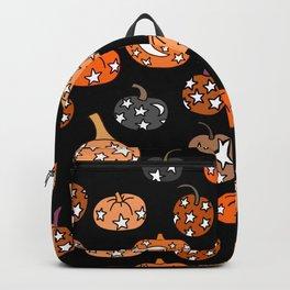 Moon and Stars Pumpkin pattern - mystical pumpkin boho design Backpack