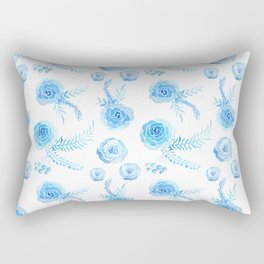 Hand painted artistic aqua blue watercolor roses floral pattern Rectangular Pillow