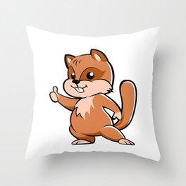 Cute cartoon squirrel. Throw Pillow