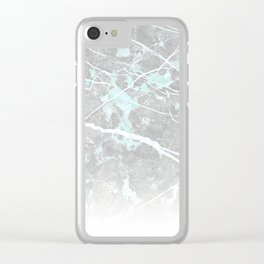 Pastel Teal & Grey Marble - Ombre Clear iPhone Case