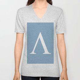 Greek letter lambda sign on placid blue background Unisex V-Neck