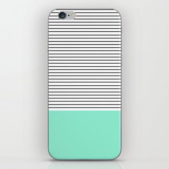 Minimal Mint Stripes iPhone & iPod Skin