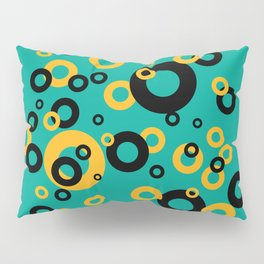 Vintage Retro Design with Rings turquoise Pillow Sham