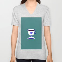 Cup of Coffee in Blue Flow Vintage China Unisex V-Neck